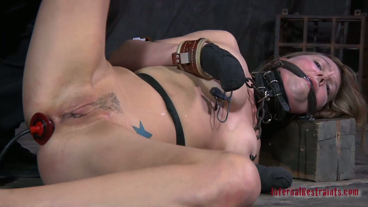 Crazy blonde chick enjoys hardcore BDSM games filmed by Infernal Restraints