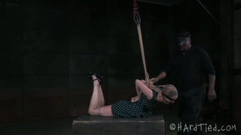 White bound slut gives steamy deep throat to black BDSM master