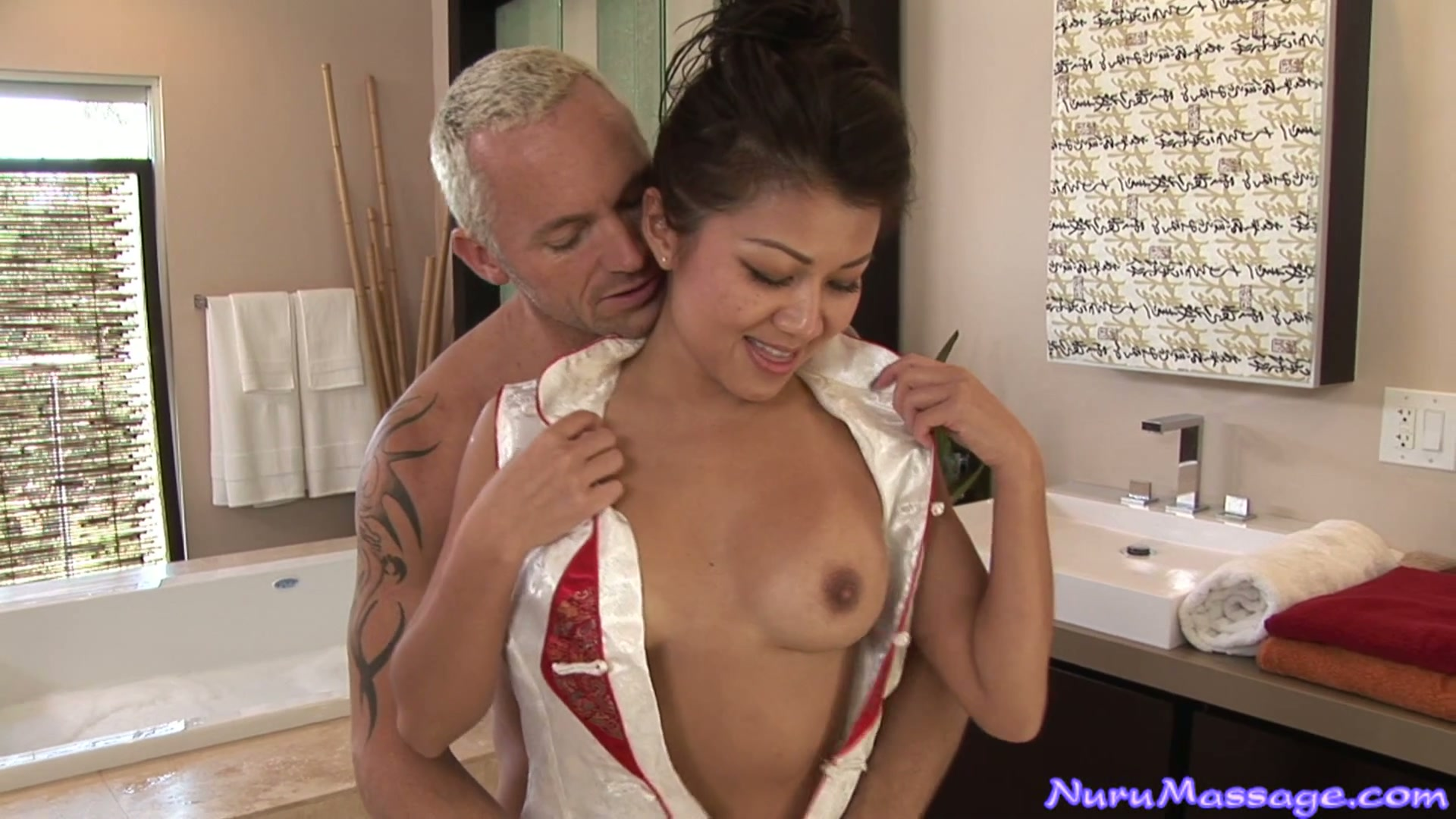 Asian chick Jackie Lin with perfect boobs blows cock