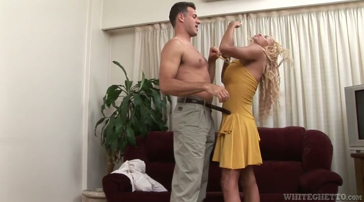 Blond haired curly shemale flashes big boobies and sucks delicious dick
