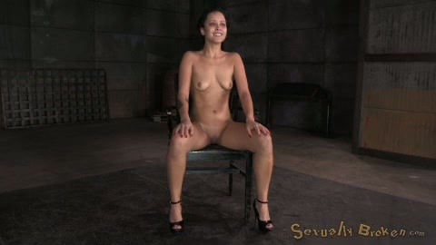 Bent over black BDSM stuff flexible brunette has to suck strong dick