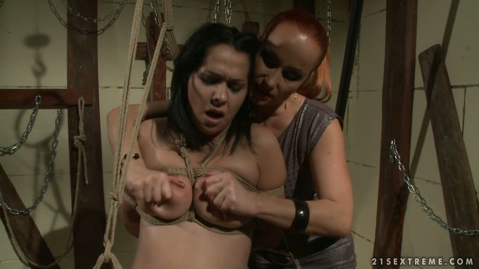 Filthy BDSM session with kinky redhead and brunette lesbies