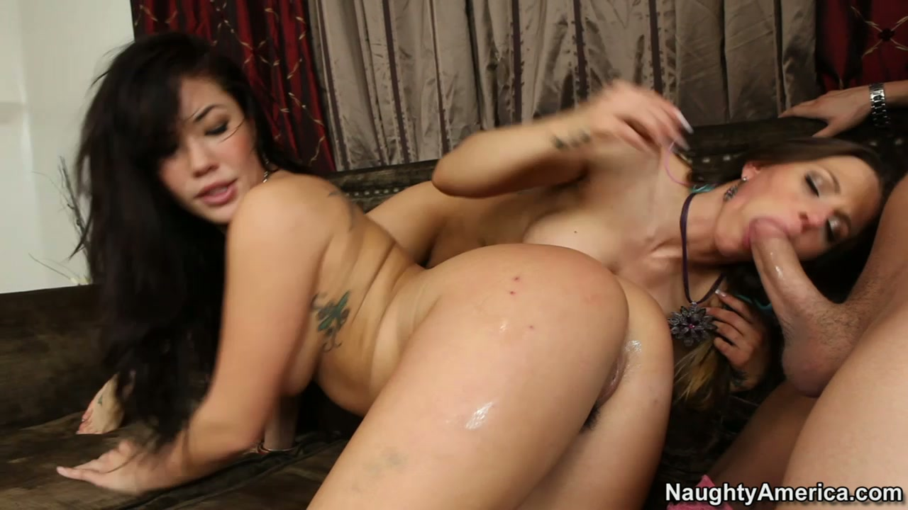 Interracial fuck is celebrated in threesome with London Keyes and Rachel Roxxx and young cock