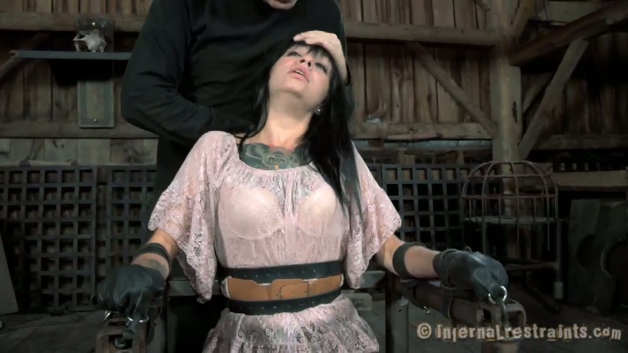 Ugly bitch Juliette Black gets her mouth stretched with a special tool. BDSM video