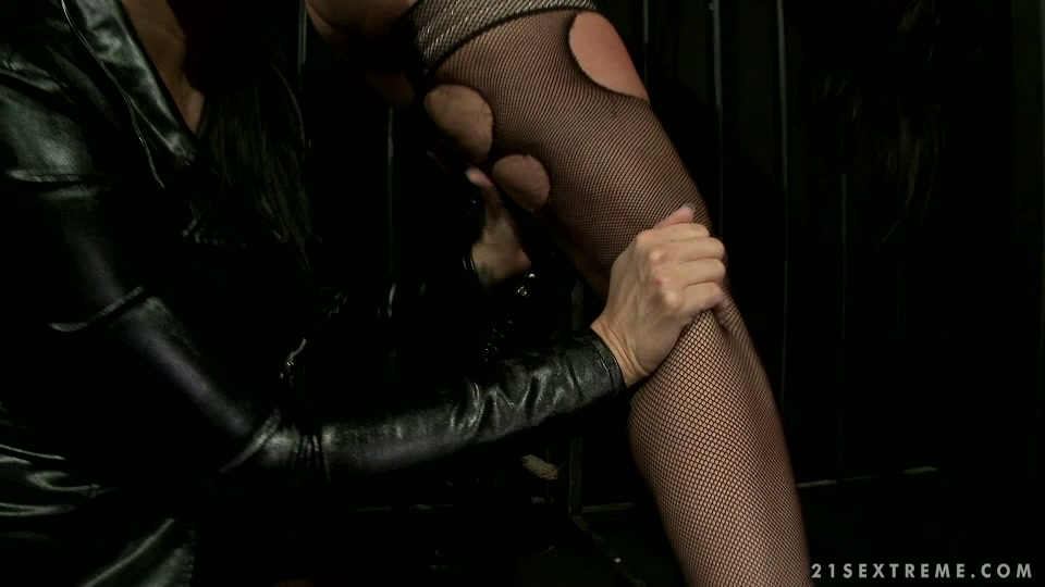 Tied up hooker in fishnet stockings is sexually tortured in kinky BDSM porn clip