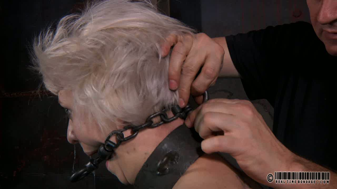 Light haired bitch is tied up and teased with bright light in BDSM way
