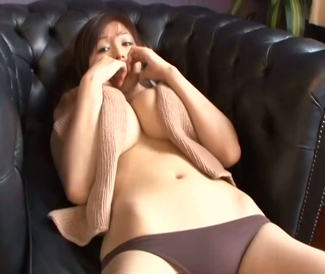 Rich breasted Japanese Yoko Matsugane squeezes her giant teddy bear