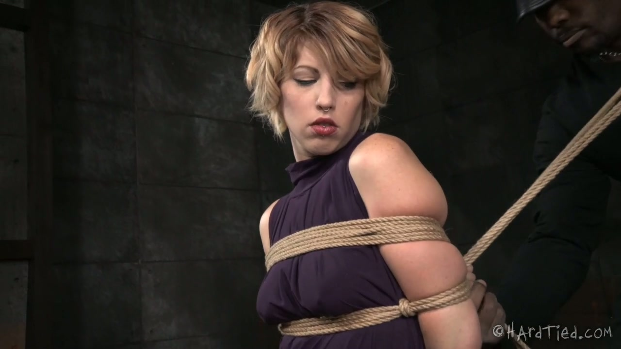 Black BDSM dude tied sexy light haired sweetie tightly